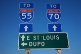 Interstate Highway 55 and 70 outside of East St Louis  Illinois