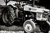 Vintage Kubota L225 Tractor Black and White Art Print Poster