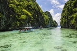 Outrigger Boats in the Crystal Clear Water in the Bacuit Archipelago  Palawan  Philippines