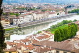 View of City Center of Florence and River Arno  Florence (Firenze)  Tuscany  Italy  Europe