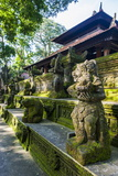 Overgrown Statues in a Temple in the Monkey Forest  Ubud  Bali  Indonesia  Southeast Asia  Asia