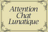 Attention Chat Lunatique French Crazy Cat Sign Poster