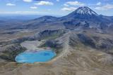 Aerial of the Blue Lake before Mount Ngauruhoe  Tongariro National Park  North Island