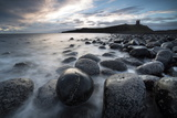 View Towards the Ruin of Dunstanburgh Castle from the Beach of Basalt Boulders