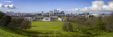 Panoramic View of Canary Wharf  the Millennium Dome  and City of London