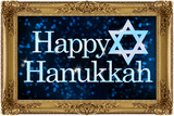 Happy Hanukkah Faux Framed Holiday Poster