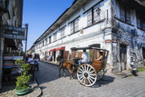 Horse Cart Riding Through the Spanish Colonial Architecture in Vigan  Northern Luzon  Philippines