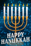 Happy Hanukkah Menorah Holiday Poster