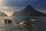 Outrigger Boat at Sunset in the Bay of El Nido  Bacuit Archipelago  Palawan  Philippines