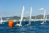 Sailboats Participating in Regatta and Buoy  Ibiza  Balearic Islands  Spain  Mediterranean  Europe