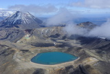 Aerial of a Blue Lake with Mount Ngauruhoe in the Background  Tongariro National Park  North Island