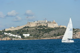 Sailboat Participating in Regatta  View of Ibiza Old Town and Dalt Vila  Ibiza