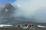 Hikers from the Cablecar Near the Smoking Summit of 3350M Volcano Mount Etna During an Active Phase