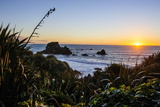 Sunset at Cape Foulwind Near Westport  West Coast  South Island  New Zealand  Pacific