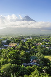 View from the Daraga Church over Volcano of Mount Mayon  Legaspi  Southern Luzon  Philippines