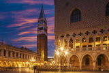 Doges Palace and Campanile after Sunset  Venice  UNESCO World Heritage Site  Veneto  Italy  Europe