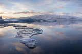 Panoramic View at Sunset During Winter over Jokulsarlon