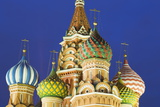 Onion Domes of St Basil's Cathedral in Red Square Illuminated at Night  Moscow  Russia  Europe