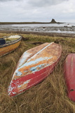 Old Brightly Painted Fishing Boats and Lindisfarne Castle in Winter  Holy Island  Northumberland