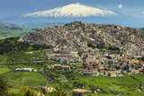 Hill Town with Backdrop of Snowy Volcano Mount Etna  Gangi  Palermo Province