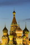 The Onion Domes of St Basil's Cathedral in Red Square Illuminated at Night  Moscow  Russia  Europe