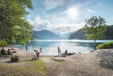 Lake Alpsee Near Castle Neuschwanstein and Fuessen Town with People Enjoying Leisure Activities