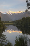 Lake Matheson with Mount Cook and Mount Tasman  West Coast  South Island  New Zealand  Pacific