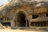 The Main Open Chaitya (Temple) in the Bhaja Caves  Excavated in Basalt  Lonavala
