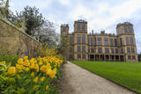 Tulip Border  Pathway and Lawn in Spring at Hardwick Hall  Near Chesterfield  Derbyshire  England
