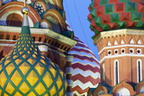 Detail of the Onion Domes of St Basil's Cathedral in Red Square  Moscow  Russia  Europe
