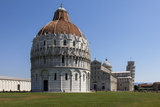 The Baptistery  Duomo and Leaning Tower  Piazza Dei Miracoli  Pisa  Tuscany  Italy  Europe