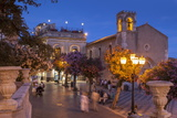 Main Square at Dusk  Taormina  Sicily  Italy  Europe