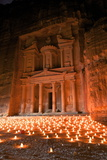 Treasury Lit by Candles at Night  Petra  UNESCO World Heritage Site  Jordan  Middle East