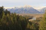 Hazy Teton Range from Snake River Overlook in Autumn (Fall)  Grand Teton National Park  Wyoming