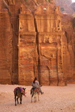 Bedouin Riding Donkey in the Siq  Petra  UNESCO World Heritage Site  Jordan  Middle East