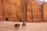 Bedouin with Donkeys in Front of the Outer Siq  Petra  Jordan  Middle East