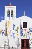 Church with Flags in Mykonos Town  Mykonos Island  Cyclades  Greek Islands  Greece  Europe