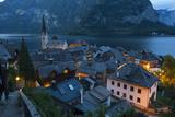 Village of Hallstatt Illuminated at Dusk  Hallstattersee  Oberosterreich (Upper Austria)