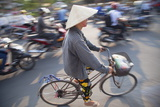 Woman Riding Bicycle  Hue  Thua Thien-Hue  Vietnam  Indochina  Southeast Asia  Asia
