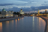River Moskva and the Cathedral of Christ the Redeemer and the Kremlin at Night  Moscow  Russia