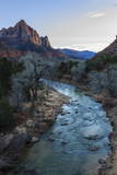 Sunset Lights the Watchman  Virgin River Overlook in Winter  Zion National Park  Utah  Usa
