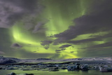The Aurora Borealis (Northern Lights) over Jokulsarlon Glacial Lagoon  Vatnajokull National Park
