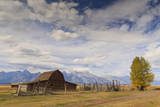 Mormon Row Barn with Teton Range in Autumn (Fall)  Antelope Flats  Grand Teton National Park