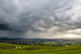 Looking Out from Cleve Hill as a Storm Crosses the Severn Vale  Cheltenham  Gloucestershire