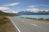 Mount Cook and Lake Pukaki with Empty Mount Cook Road  Mount Cook National Park  Canterbury Region