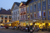 Restaurants in Market Square Illuminated at Dusk  Mondsee  Mondsee Lake