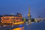 Peter the Great Statue and River Moskva at Night  Moscow  Russia  Europe
