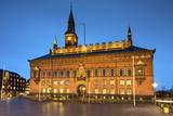 Copenhagen City Hall Illuminated at Dusk  Copenhagen  Denmark  Scandinavia  Europe