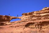Tourists Climbing at Wadi Rum  Jordan  Middle East