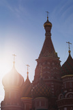Silhouette of the Onion Domes of St Basil's Cathedral in Red Square  Moscow  Russia  Europe